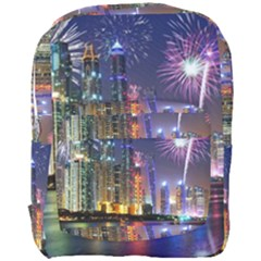 Dubai City At Night Christmas Holidays Fireworks In The Sky Skyscrapers United Arab Emirates Full Print Backpack