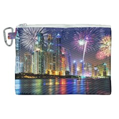 Dubai City At Night Christmas Holidays Fireworks In The Sky Skyscrapers United Arab Emirates Canvas Cosmetic Bag (xl) by Sapixe