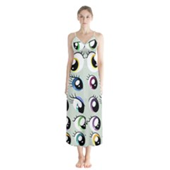 Eyes  Pattern Button Up Chiffon Maxi Dress