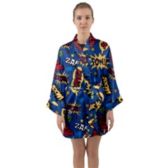 Fabric Comic Words Long Sleeve Kimono Robe