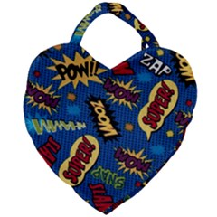 Fabric Comic Words Giant Heart Shaped Tote