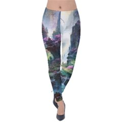 Fantastic World Fantasy Painting Velvet Leggings by Sapixe