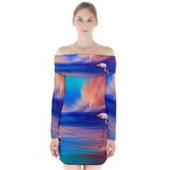Flamingo Lake Birds In Flight Sunset Orange Sky Red Clouds Reflection In Lake Water Art Long Sleeve Off Shoulder Dress by Sapixe