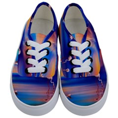 Flamingo Lake Birds In Flight Sunset Orange Sky Red Clouds Reflection In Lake Water Art Kids  Classic Low Top Sneakers