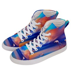 Flamingo Lake Birds In Flight Sunset Orange Sky Red Clouds Reflection In Lake Water Art Women s Hi Top Skate Sneakers by Sapixe