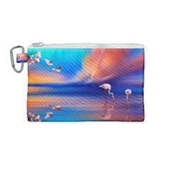 Flamingo Lake Birds In Flight Sunset Orange Sky Red Clouds Reflection In Lake Water Art Canvas Cosmetic Bag (medium) by Sapixe