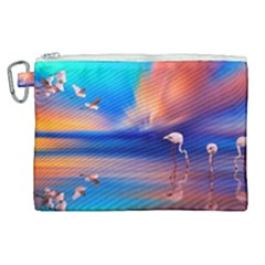 Flamingo Lake Birds In Flight Sunset Orange Sky Red Clouds Reflection In Lake Water Art Canvas Cosmetic Bag (xl)