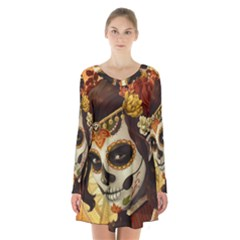 Fantasy Girl Art Long Sleeve Velvet V Neck Dress