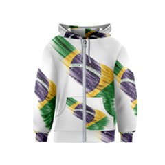 Flag Of Brazil Kids  Zipper Hoodie