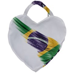 Flag Of Brazil Giant Heart Shaped Tote by Sapixe