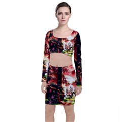Fantasy Art Story Lodge Girl Rabbits Flowers Long Sleeve Crop Top & Bodycon Skirt Set by Sapixe