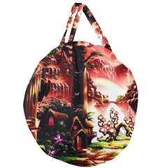 Fantasy Art Story Lodge Girl Rabbits Flowers Giant Round Zipper Tote