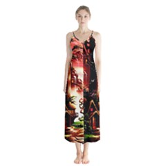 Fantasy Art Story Lodge Girl Rabbits Flowers Button Up Chiffon Maxi Dress