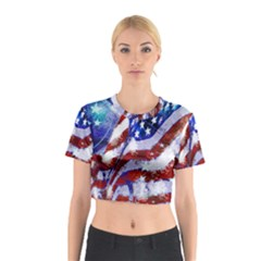 Flag Usa United States Of America Images Independence Day Cotton Crop Top