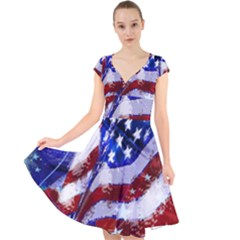 Flag Usa United States Of America Images Independence Day Cap Sleeve Front Wrap Midi Dress