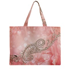 Wonderful Soft Flowers With Floral Elements Zipper Mini Tote Bag by FantasyWorld7
