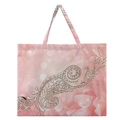 Wonderful Soft Flowers With Floral Elements Zipper Large Tote Bag by FantasyWorld7