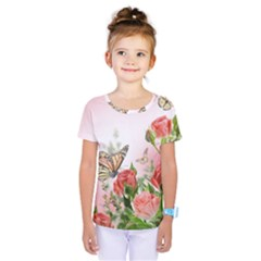 Flora Butterfly Roses Kids  One Piece Tee by Sapixe