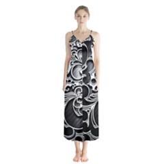 Floral High Contrast Pattern Button Up Chiffon Maxi Dress