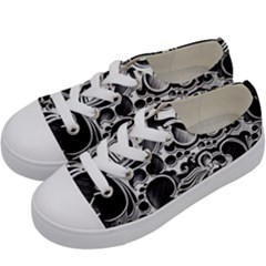 Floral High Contrast Pattern Kids  Low Top Canvas Sneakers by Sapixe