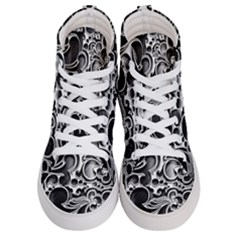 Floral High Contrast Pattern Men s Hi Top Skate Sneakers
