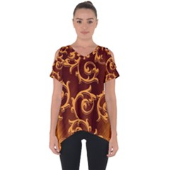 Floral Vintage Cut Out Side Drop Tee by Sapixe