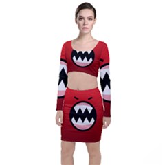 Funny Angry Long Sleeve Crop Top & Bodycon Skirt Set