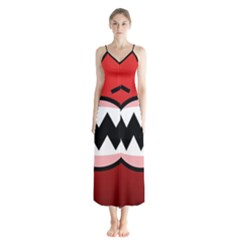 Funny Angry Button Up Chiffon Maxi Dress