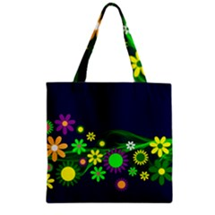 Flower Power Flowers Ornament Zipper Grocery Tote Bag by Sapixe