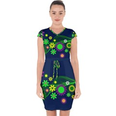 Flower Power Flowers Ornament Capsleeve Drawstring Dress