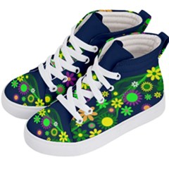 Flower Power Flowers Ornament Kid s Hi-top Skate Sneakers by Sapixe