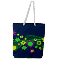 Flower Power Flowers Ornament Full Print Rope Handle Tote (large)