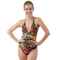 Flower Art Traditional Halter Cut Out One Piece Swimsuit