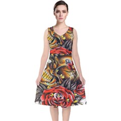Flower Art Traditional V Neck Midi Sleeveless Dress  by Sapixe
