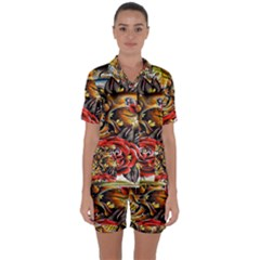 Flower Art Traditional Satin Short Sleeve Pyjamas Set