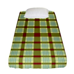Geometric Tartan Pattern Square Fitted Sheet (single Size) by Sapixe