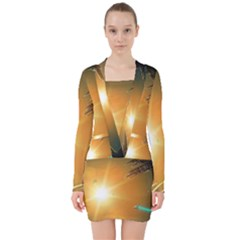 Future City V Neck Bodycon Long Sleeve Dress