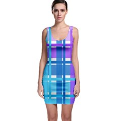 Gingham Pattern Blue Purple Shades Bodycon Dress