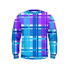 Gingham Pattern Blue Purple Shades Kids  Sweatshirt