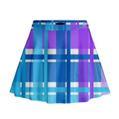 Gingham Pattern Blue Purple Shades Mini Flare Skirt