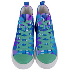 Gingham Pattern Blue Purple Shades Women s Mid Top Canvas Sneakers