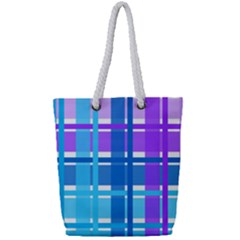 Gingham Pattern Blue Purple Shades Full Print Rope Handle Tote (small)