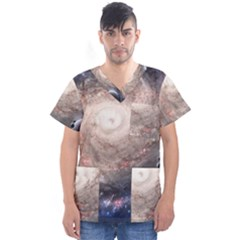 Galaxy Star Planet Men s V Neck Scrub Top