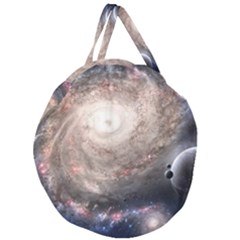 Galaxy Star Planet Giant Round Zipper Tote