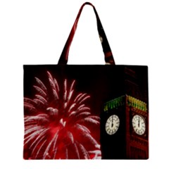 Fireworks Explode Behind The Houses Of Parliament And Big Ben On The River Thames During New Year's Mini Tote Bag by Sapixe