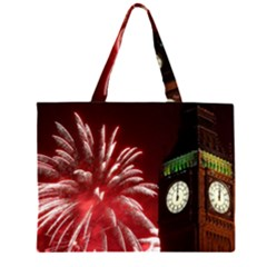 Fireworks Explode Behind The Houses Of Parliament And Big Ben On The River Thames During New Year's Zipper Large Tote Bag