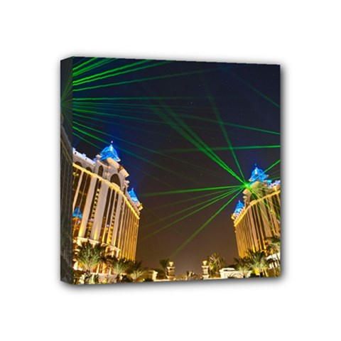 Galaxy Hotel Macau Cotai Laser Beams At Night Mini Canvas 4  X 4  by Sapixe