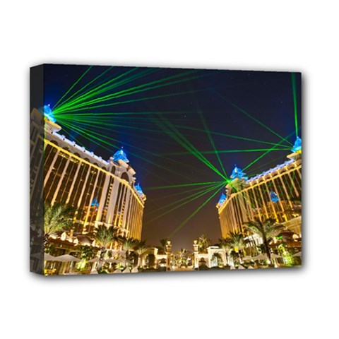 Galaxy Hotel Macau Cotai Laser Beams At Night Deluxe Canvas 16  X 12   by Sapixe