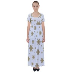 Gold Snow Flakes Snow Flake Pattern High Waist Short Sleeve Maxi Dress