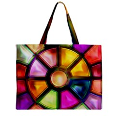 Glass Colorful Stained Glass Zipper Mini Tote Bag by Sapixe